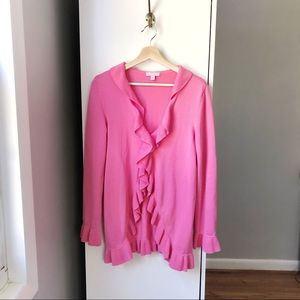 Lily Pulitzer ruffle detail hot pink cardigan 611A